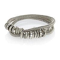 Silver tone embellished stretch bracelet