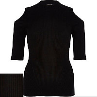 Black rib cut out turtle neck top