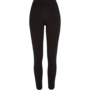 Black contrast panel high waisted leggings