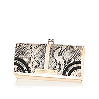 Cream snake print clip top purse