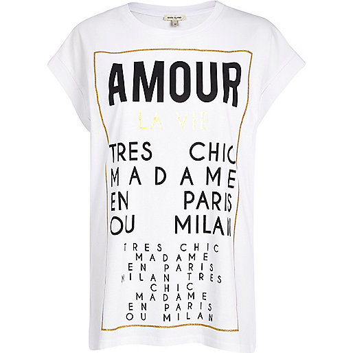 White amour tres chic print t-shirt