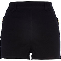 Black high waisted zip trim shorts