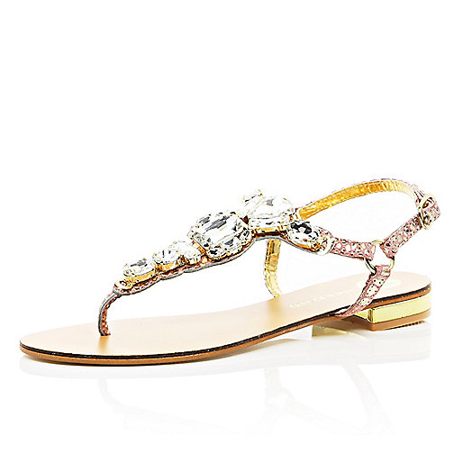 Gold metallic gemstone T bar sandals