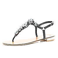 Black gemstone embellished T bar sandals
