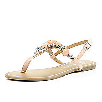 Light pink gemstone T bar sandals