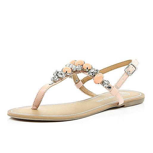 Light pink gemstone T bar sandals