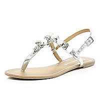 Silver gem stone embellished sandals