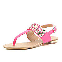 Coral laser cut metal trim sandals