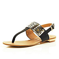 Black laser cut metal trim sandals