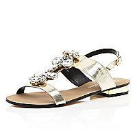 Gold gemstone embellished sandals