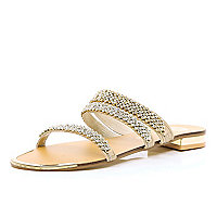 Pink leather diamante embellished sandal