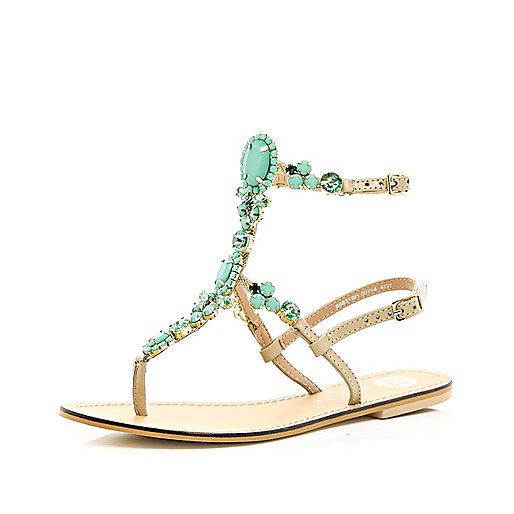 Turquoise gemstone high leg sandals