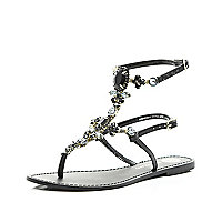 Black gem stone high leg sandals