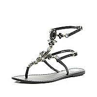 Black gem stone high leg sandals
