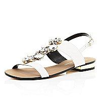 White gem stone embellished sandals