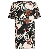 Light pink tropical print woven front tunic