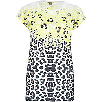 Yellow leopard and poppy print t-shirt