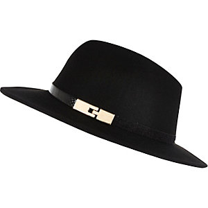 Black metal trim fedora hat