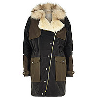 Khaki faux fur collar hooded parka jacket