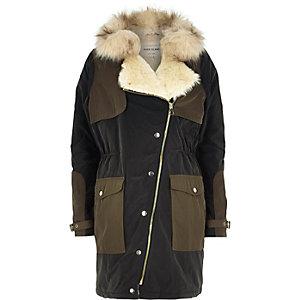 Khaki faux fur collar hooded parka jacket