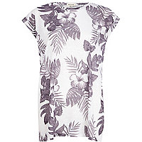 White tropical burnout oversized t-shirt