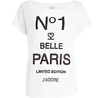 White No1 belle Paris slouchy t-shirt