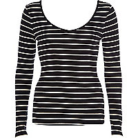 Black stripe rib V neck long sleeve t-shirt