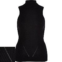 Black rib roll neck sleeveless top