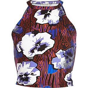 Blue graphic floral print crop top