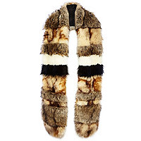 Brown stripe long faux fur stole