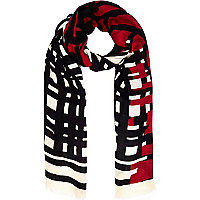 Cream graphic print long scarf