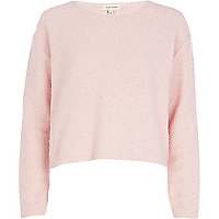 Light pink textured boxy top
