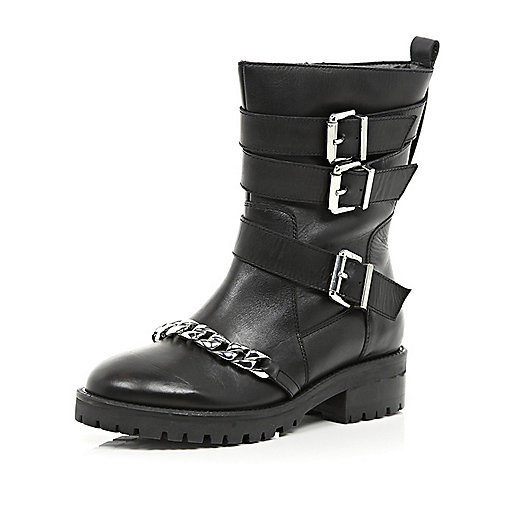 Black chain trim biker boots