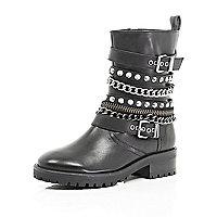 Black embellished biker boots
