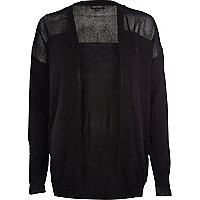 Black mesh panel open front cardigan