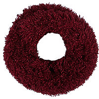 Dark red faux mongolian fur snood