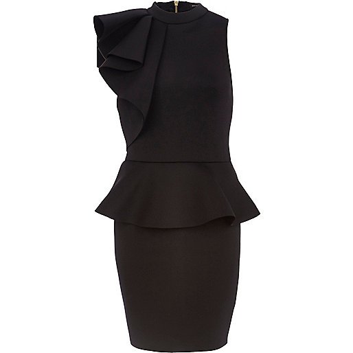 Black asymmetric frill peplum dress