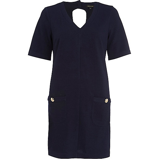 Navy V neck patch pocket swing dress
