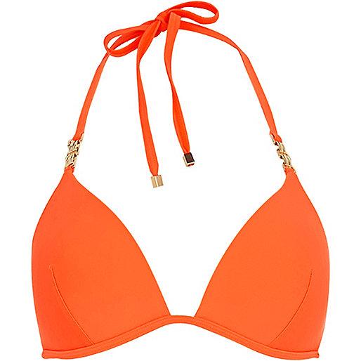 Orange jewel strap bikini top