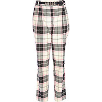 Pink check high waisted trousers