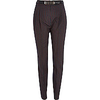 Navy check high waisted tapered trousers