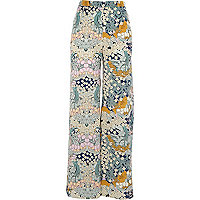 Light green floral print palazzo trousers