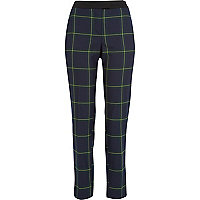 Navy check cigarette pants