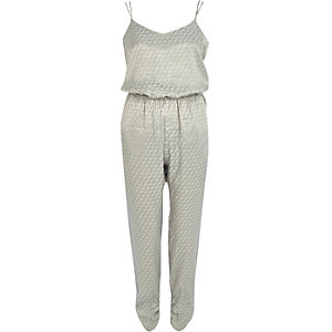 Grey tile jacquard cami jumpsuit