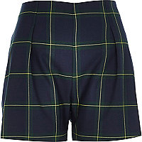 Navy check smart shorts