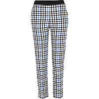 Black check cigarette pants