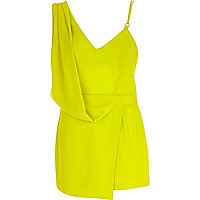 Lime asymmetric skort playsuit