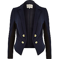 Navy quilted structured jacket