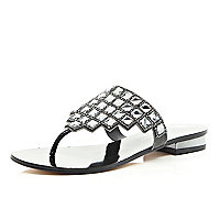 Black gem stone embellished sandals