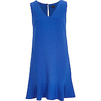 Blue V neck drop waist dress